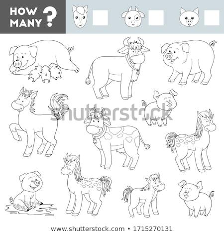 Porcos jogo desenho animado ilustração atividade Foto stock © izakowski