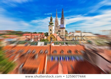 Croatie · Zagreb · cathédrale · flou · vue · ville - photo stock © xbrchx