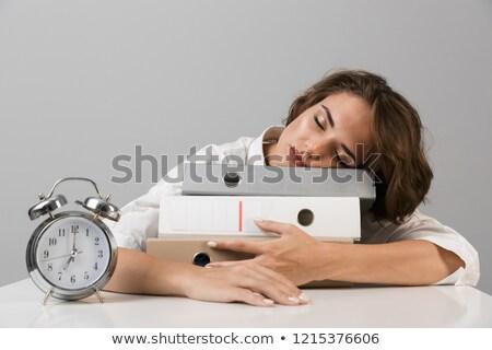 moe · jonge · vrouw · vergadering · tabel · geïsoleerd · grijs - stockfoto © deandrobot