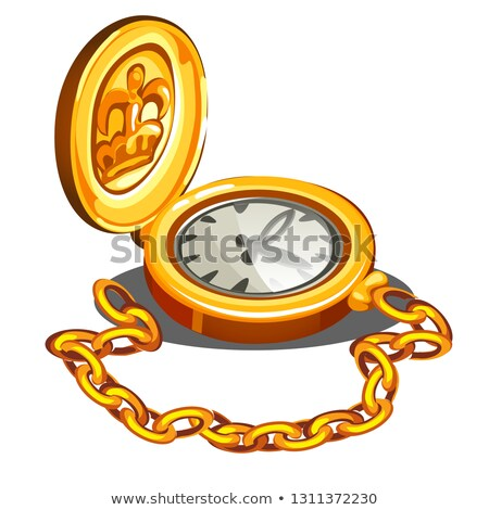 Vintage chronometer in a gold case isolated on white background. Vector cartoon close-up illustratio stock photo © Lady-Luck