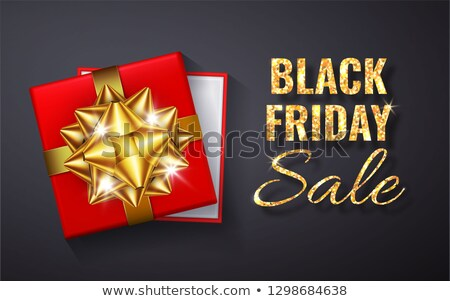Stock photo: Black Friday Sale Golden glitter sparkle.Open Red Gift box with gold bow and ribbon top view. Vector
