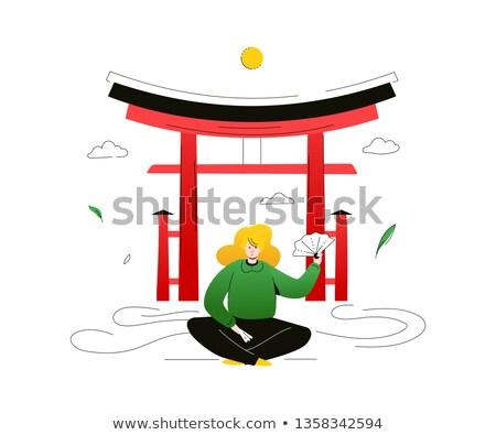 Bezoeken Japan kleurrijk ontwerp stijl illustratie Stockfoto © Decorwithme