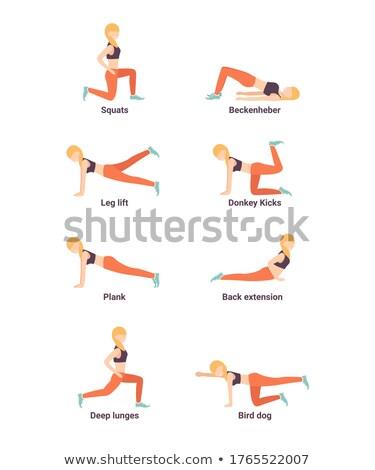 Volwassen vrouw opleiding benen Maakt een reservekopie plank Stockfoto © diego_cervo