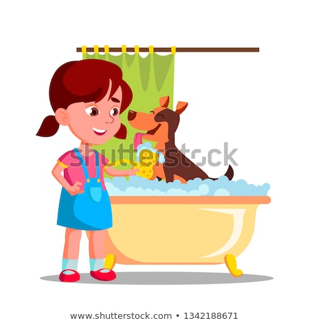 Little Cute Girl Washes A Dog In The Bathroom With Foam Vector Flat Cartoon Illustration Stock photo © pikepicture