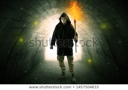 Homme marche brûlant sombre tunnel laide Photo stock © ra2studio