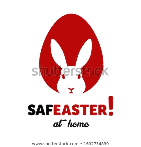 Happy easter black lettering, text with rabbit ears isolated, design for holiday greeting card or in Stock photo © MarySan