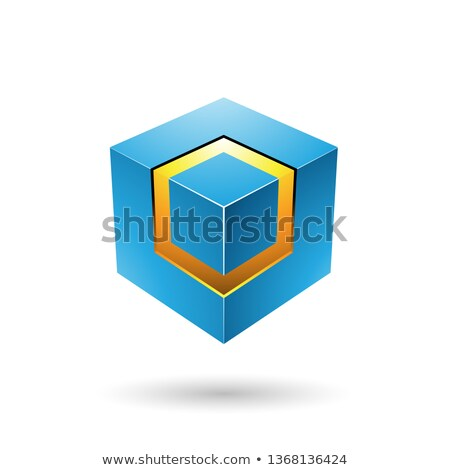 Blue Bold Cube with Glowing Core Vector Illustration Stock photo © cidepix