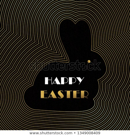 Happy Easter gold art deco card of bunny and eggs Stock photo © cienpies