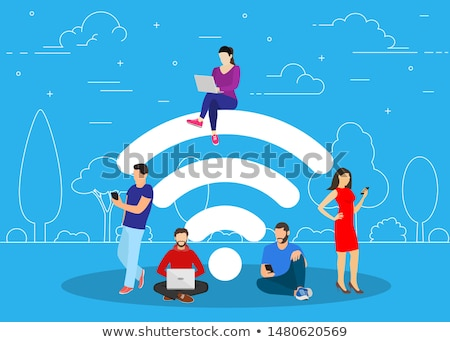Free wifi - flat design style vector illustration Stock photo © Decorwithme