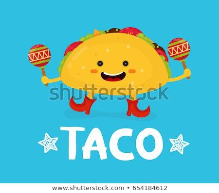 Happy Taco vector illustration in cartoon style Stock photo © nezezon