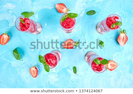 summer refreshing strawberry sorbet slush granita drink in serving glasses stock photo © illia