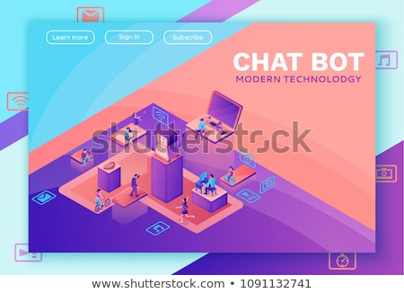 flat isometric vector landing page template of chatbot ai stock photo © tarikvision
