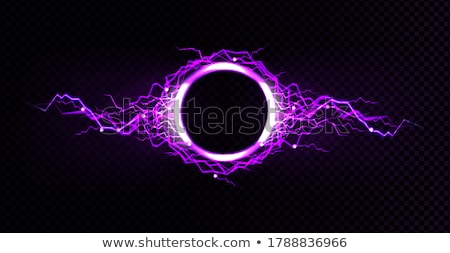 Stock photo: Realistic lightnings with transparency for design. Digital effect of glowing, electrical discharge,