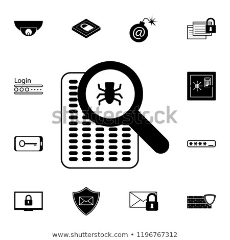 Bug under magnifying glass vector icon isolated on white background. for infographic, website or app stock photo © kyryloff