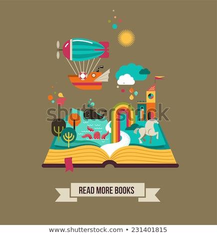 Homem mágico livro aberto ilustração magia Foto stock © lenm