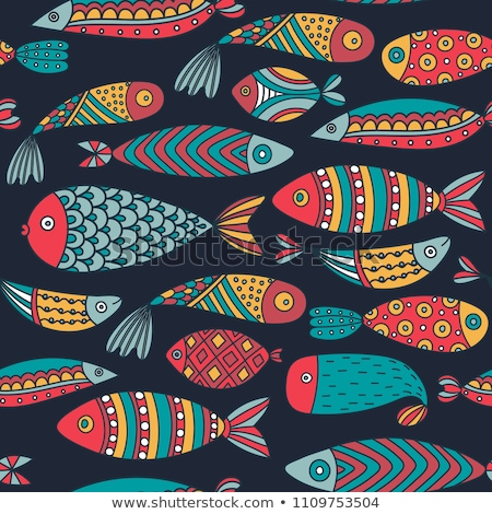 Vector seamless pattern with colorful abstract fish. Undersea world. Aquarium Stock photo © user_10144511