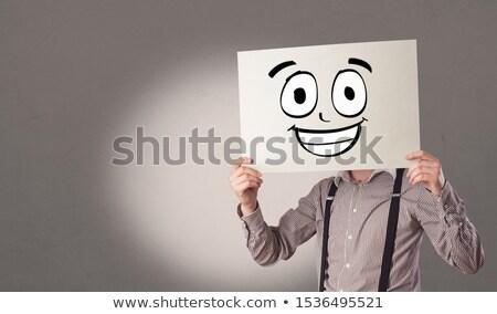 Estudiante papel riendo emoticon cara Foto stock © ra2studio