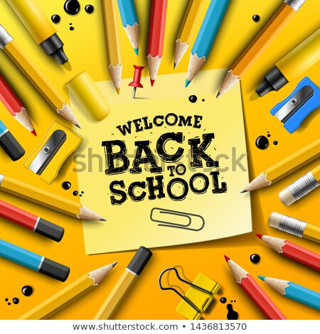 Back to school design with pencils and sticky notes. Vector illustration with post it, pin, supplies Stock photo © ikopylov