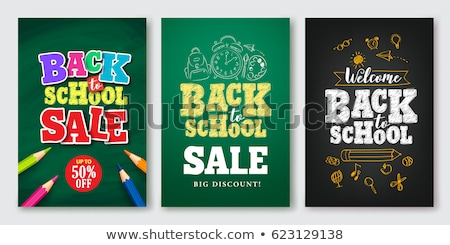Okula geri satış poster afiş renkli kalemler Stok fotoğraf © ikopylov