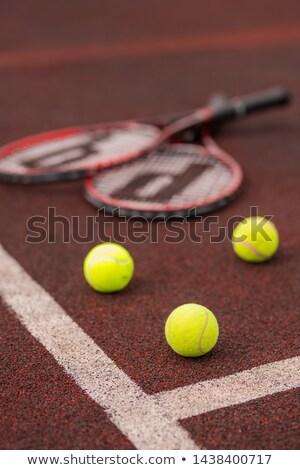 ストックフォト: 3 · テニス · 白 · 行 · 裁判所