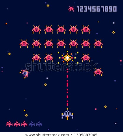 Pixel Game, Battle of Spaceship and Ufo Vector Stock photo © robuart