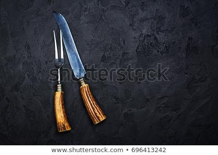 黒 · 表 · ナイフ · ホーム · デスク · フォーク - ストックフォト © denismart