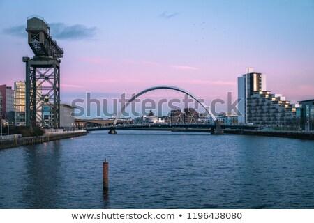 megvilágított · sín · híd · Skócia · út · épület - stock fotó © vichie81