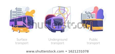 Stad spoorweg scène illustratie huis wolken Stockfoto © bluering