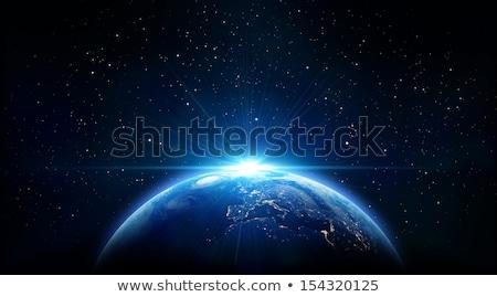 планете Земля Восход пространстве 3d иллюстрации синий глубокий Сток-фото © elaine