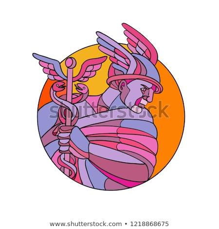 görög · Isten · 3d · render · hírnök · kereskedelem · fém - stock fotó © patrimonio