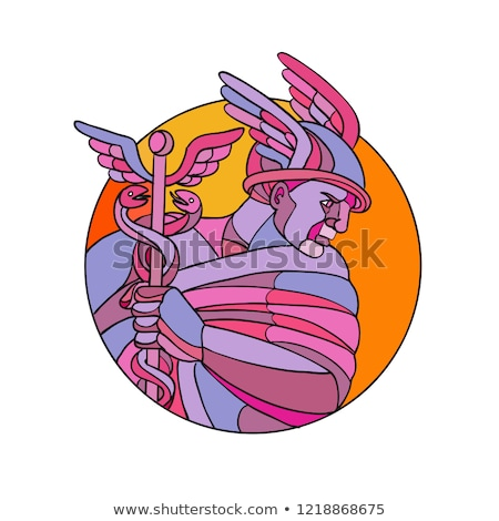 Stock fotó: Hermes Messenger Of The Gods Mosaic Color