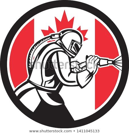 Sandblaster Abrasive Blasting Canada Flag Circle Stock photo © patrimonio