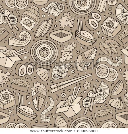 Cartoon cute hand drawn Japan food seamless pattern Stock photo © balabolka