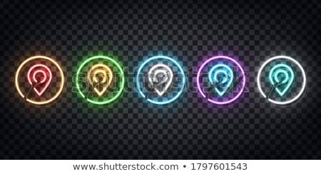 Piros neon térkép szimbólum gyors könnyű Stock fotó © Voysla
