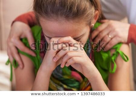 üzücü genç kız kafa umutsuzluk kadın eller Stok fotoğraf © ilona75