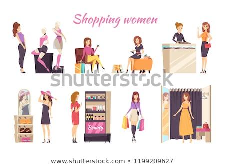 торговых женщины белье плакат вектора платье Сток-фото © robuart
