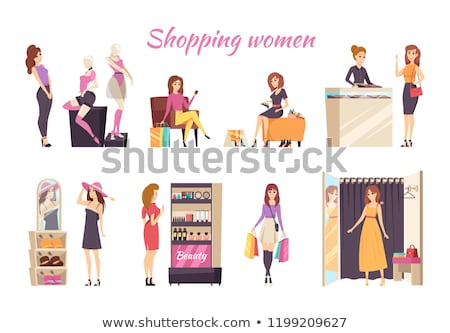 shopping women mannequins underwear poster vector stock photo © robuart