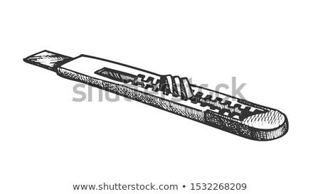 ストックフォト: 文房具 · ナイフ · レトロな · ベクトル · 修復