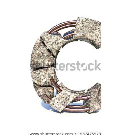 Concreto fraturar fonte letra c 3D 3d render Foto stock © djmilic
