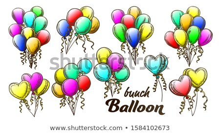 balloons bunch with curly ribbon retro set vector stock photo © pikepicture
