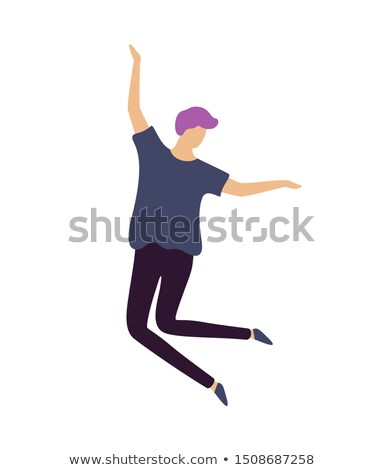 ヒップスター 男 紫色 髪 楽しく ジャンプ ストックフォト © robuart