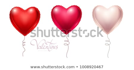 Happy Valentines Day background, red helium balloon in form of heart. Vector illustration Stock photo © olehsvetiukha