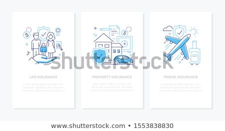 életbiztosítás vektor vonal terv stílus ikon szett Stock fotó © Decorwithme