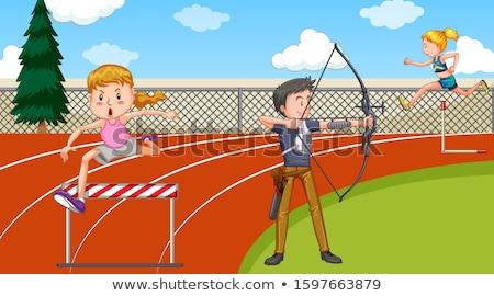 Cena pessoas seguir campo esportes ilustração Foto stock © bluering
