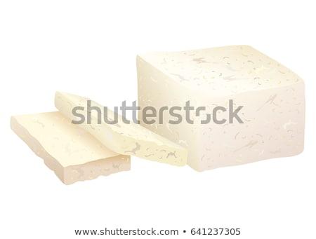 Taze firma fasulye soya peyniri yarım dilimleri Stok fotoğraf © Digifoodstock