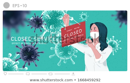 We are closed sign, we are online, vector illustration. Stock photo © ikopylov