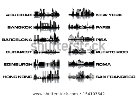 Edinburgh City skyline black and white silhouette. Stock photo © ShustrikS