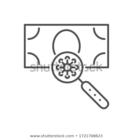 Virus on the surface of a banknote related vector thin line icon. Stock photo © smoki