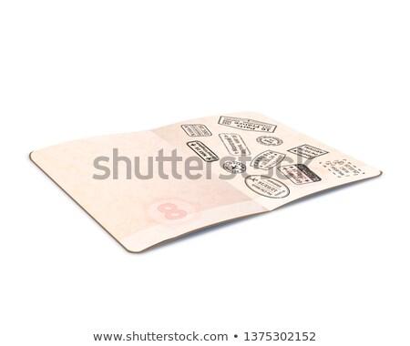 Open buitenlands paspoort zwarte immigratie postzegels Stockfoto © evgeny89