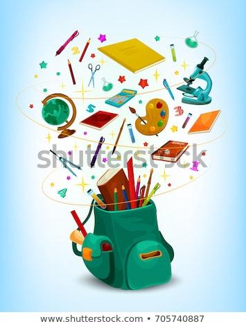 Okul malzemeleri kitaplar kalemler toplama Stok fotoğraf © robuart